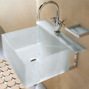 Open Kristallux Kubo Glass Sinks